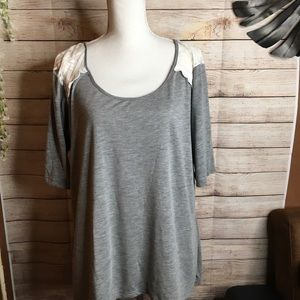 Torrid gray with lace on the shoulders top size 2